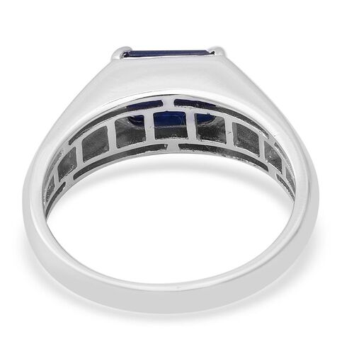 Kanchanaburi Blue Sapphire (Oct 9x7mm) Solitaire Ring in Rhodium Overlay Sterling Silver 2.52 Ct.