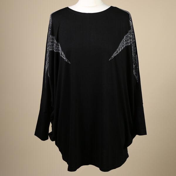 Nova of London Diamante Star Long Sleeve Jersey Top (Free Size/Length-72Cm) - Black