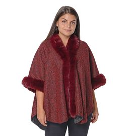 Boucle Blanket Wrap with Faux Fur On Collar and Sleeves (Free Size/L-75 Cm) - Boucle Wine