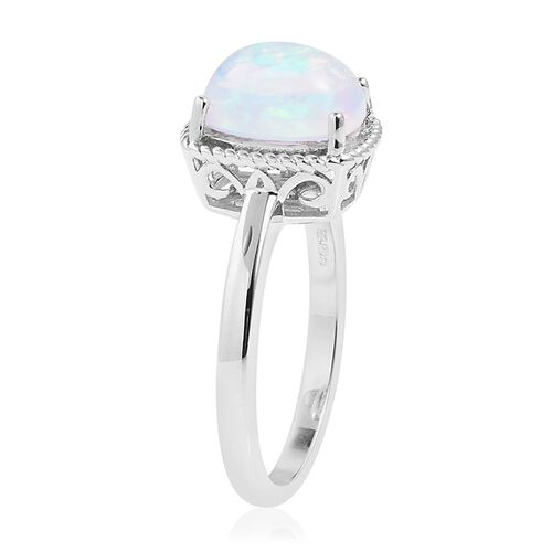 Opal Day Mega Deal-9K White Gold Ethiopian Welo Opal (Cush) Solitaire Ring 1.250 Ct.Gold Wt 2.89 Gms
