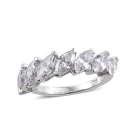 J Francis Made With SWAROVSKI ZIRCONIA Marquise Ring in Platinum Plated Sterling Silver