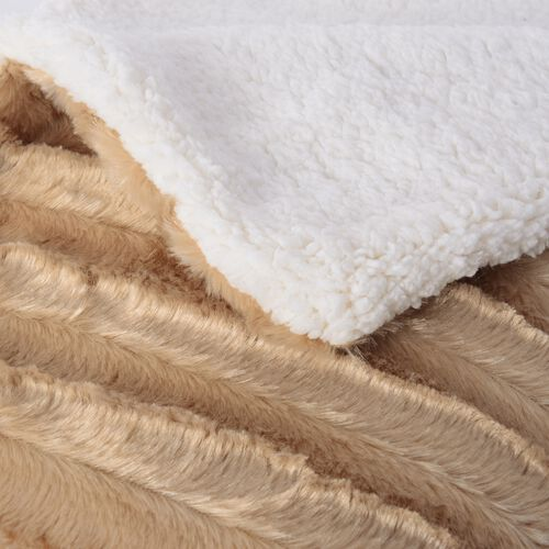 Autumn/Winter Collection - Golden Colour Faux Fur Sherpa Reversible Blanket (150x200 cm)