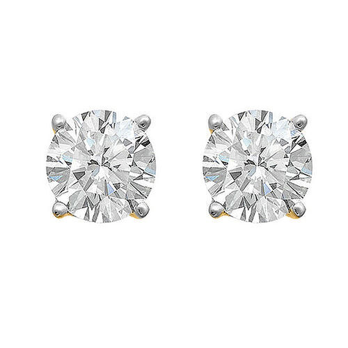 18K Yellow Gold IGI Certified (SI2/H) Diamond (Rnd) Stud Earrings (with Push Back) 0.500 Ct.