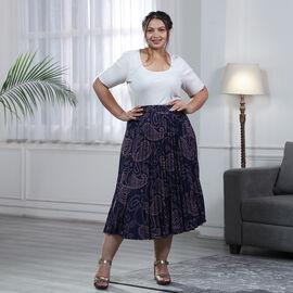 Blue Pleated Midi Skirt with Elasticated Waist
