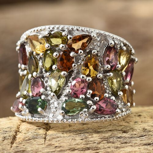 AA Rainbow Tourmaline (Pear and Ovl), Natural Cambodian Zircon Ring in Platinum Overlay Sterling Silver 5.000 Ct, Silver wt 10.58 Gms.