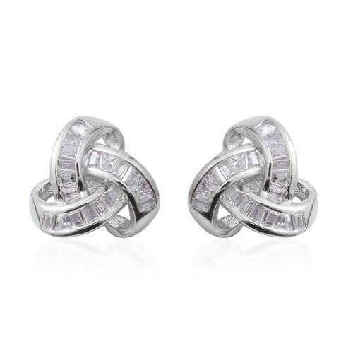 ELANZA Simulated Diamond (Bgt) Knot Earrings (with Push Back) in Rhodium Overlay Sterling Silver