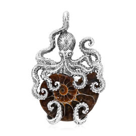 Royal Bali 12.40 Ct Ammonite Octopus Pendant in Sterling Silver 12.40 Grams