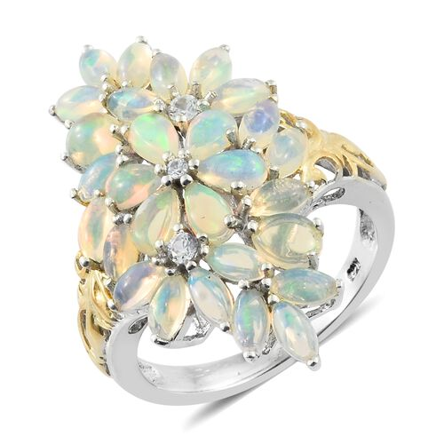Ethiopian Welo Opal (Pear), Natural Cambodian Zircon Floral Ring in Platinum and Yellow Gold Overlay Sterling Silver 3.000 Ct. Silver wt 5.19 Gms.