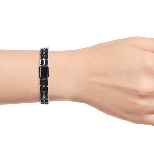 Natural Boi Ploi Black Spinel (Oct) Bracelet (Size 7.5) in Rhodium Overlay Sterling Silver 73.00 Ct, Silver wt 26.00 Gms