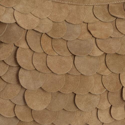 Genuine Leather Tan Scalloped Bag with Adjustable Shoulder Strap (Size 42x24 Cm)