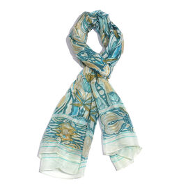 100% Mulberry Silk Turquoise, White and Multi Colour Hand Screen Printed Scarf (Size 180X100 Cm)