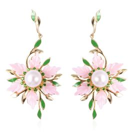 Jardin Collection - Pink Mother of Pearl, Fresh Water Pearl and Russian Diopside Earrings (with Push