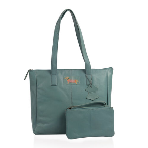Set of Two Super Soft 100% Genuine Leather Sausage Dog Logo Teal Tote bag with Matching RFID Purse (32x26x12cm