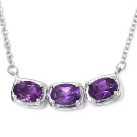 Amethyst Necklace (Size 18) in Platinum Overlay Sterling Silver 2.25 Ct.