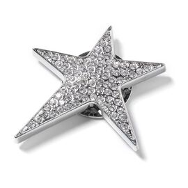 Austrian White and Black Crystal Star Brooch with Magnet in Silver Plated