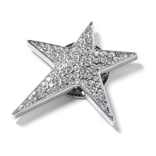 Austrian White Austrian Crystal Star Brooch with Magnet in Silver Plated