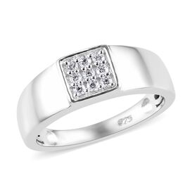 Swarovski Zirconia (0.15 Ct) Platinum Overlay Sterling Silver Ring  0.150  Ct.