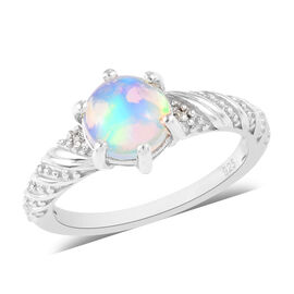 AA Ethiopian Welo Opal and Natural Cambodian Zircon Ring in Platinum Overlay Sterling Silver 1.00 Ct