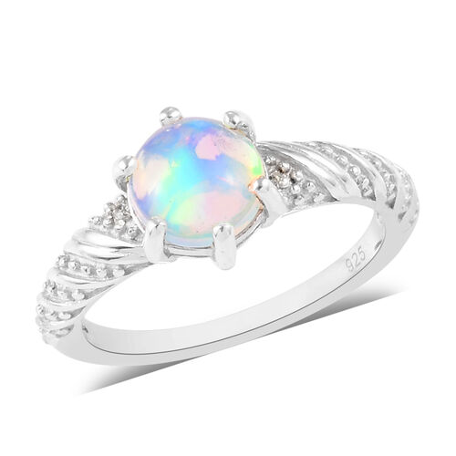 1 Carat AA Ethiopian Welo Opal and Zircon Solitaire Ring in Platinum Plated Sterling Silver