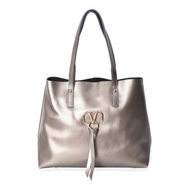 100% Genuine Leather Tote Bag with Zipper Closure (Size 38x14x31 Cm) - Metallic Bronze