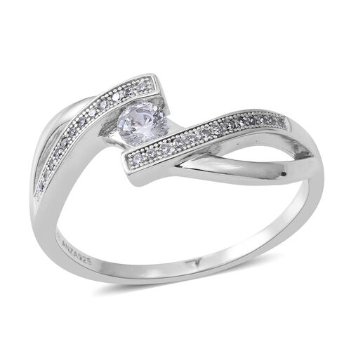 ELANZA Simulated White Diamond (Rnd) Ring in Rhodium Plated Sterling Silver, Silver wt 3.00 Gms.