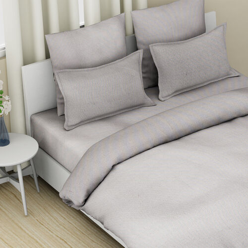 4 Piece Set - 100% Cotton Duvet Cover, 2 Pillow Case with Button Closure and Fitted Sheet (Size King) - Grey