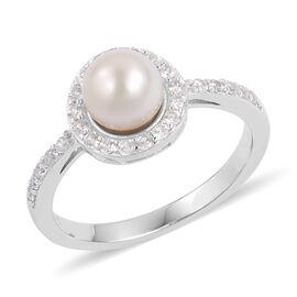 Japanese Akoya Pearl (2.75 Ct),White Zircon Platinum Overlay Sterling Silver Ring  3.280  Ct.