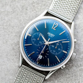 Henry London Knightsbridge Mens Bracelet Water Resistant Watch with Slider Clasp - Silver