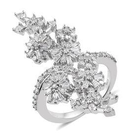 Designer Inspired- Diamond (Bgt) Floral Ring in Platinum Overlay Sterling Silver 0.80 Ct.