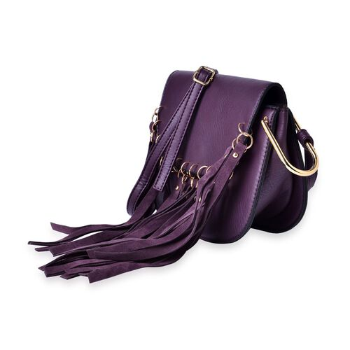 Purple Colour Crossbody Bag with Tassels and Adjustable Shoulder Strap (Size 20x17x8 Cm)