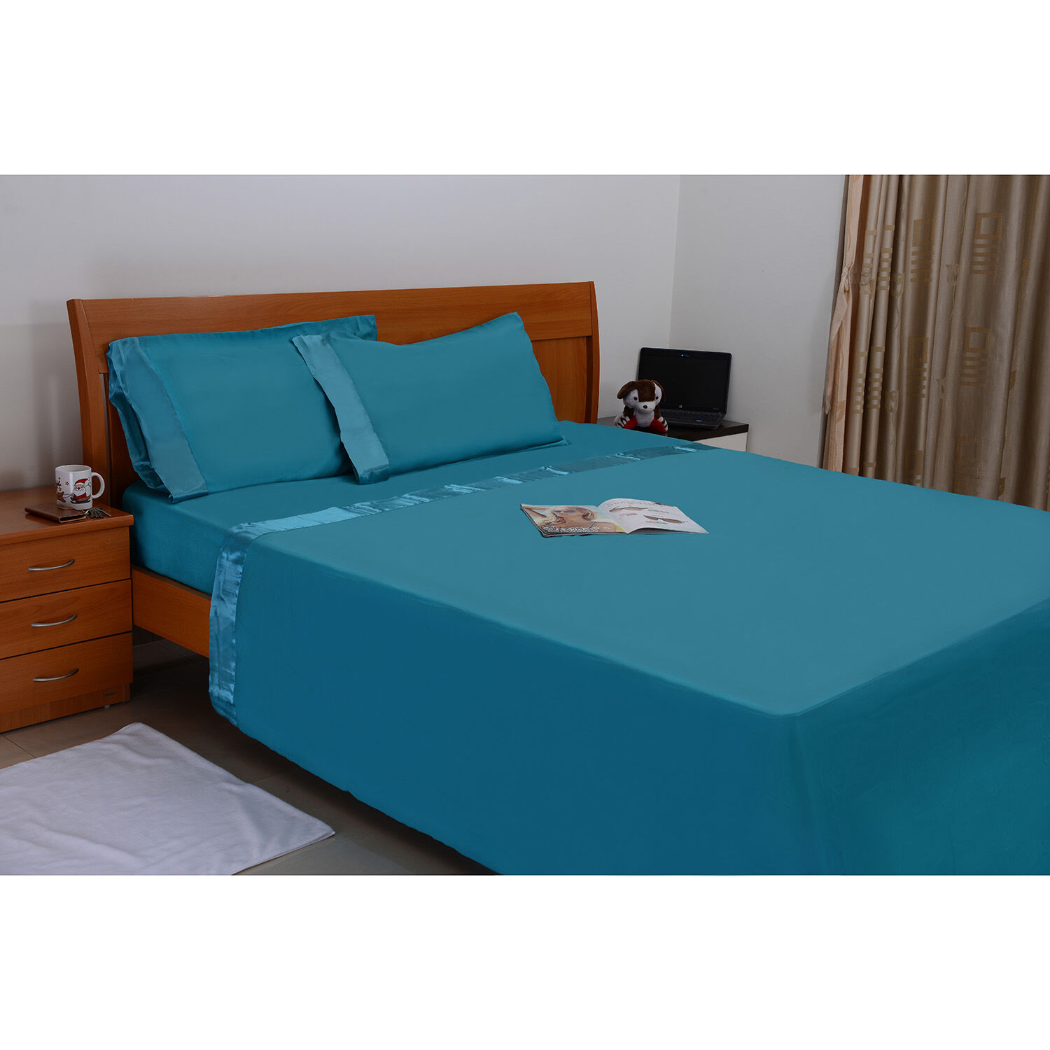 Turquoise Colour One Fitted Double Bed Sheet(Size 78x54 Inch), One Flat  Sheet ...