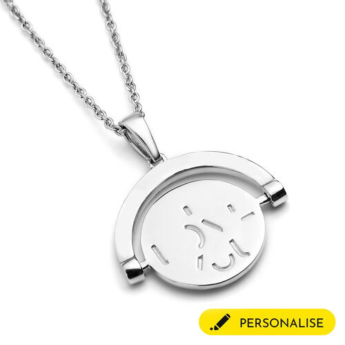 Personalise Engravable Spinning Disc 'I LOVE YOU' Pendant