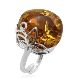 Baltic Amber (Rnd) Ring in Sterling Silver 25.000 Ct. Silver wt 5.80 Gms.