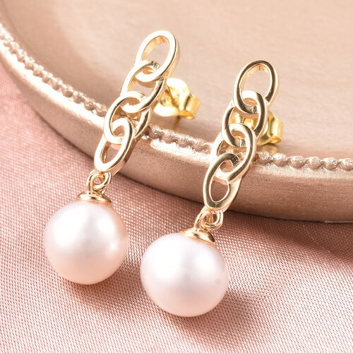 Edison Pearl Earrings (with Push Back) in Yellow Gold Overlay Sterling Silver