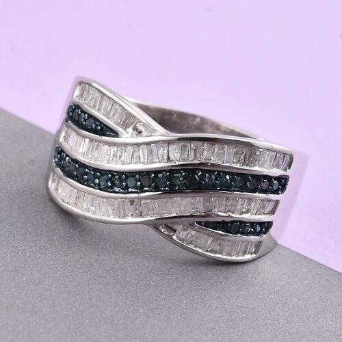 Blue Diamond (Rnd), White Diamond Criss Cross Ring in Platinum Overlay Sterling Silver 1.000 Ct. Silver wt 5.81 Gms.