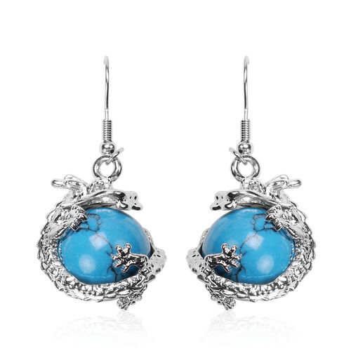 2 Piece Set - Blue Howlite Hook Earrings and Pendant with Chain Stainless Steel 85.00 Ct.