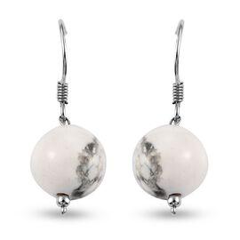 White Howlite Hook Earrings in Platinum Overlay Sterling Silver 28.65 Ct.