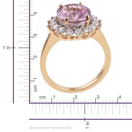 ILIANA 18K Yellow Gold AAAA Brazilian Kunzite (Ovl 5.50 Ct), Diamond (SI/G-H) Ring 6.500 Ct.