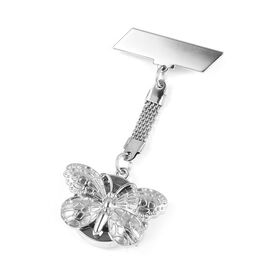 STRADA Japanese Movement Water Resistant Butterfly Pocket Watch in Silver Tone
