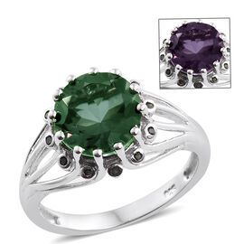 Colour Change Alexandrite Quartz (Rnd 3.95 Ct), Green Diamond Ring in Platinum Overlay Sterling Silver 4.000 Ct.