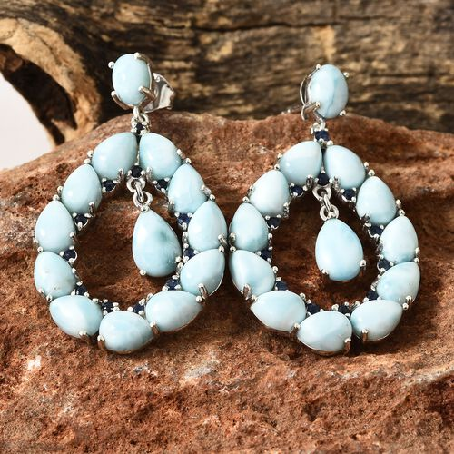 Larimar (Ovl), Kanchanaburi Blue Sapphire Earrings (with Push Back) in Platinum Overlay Sterling Silver 20.000 Ct. Silver wt 7.24 Gms.