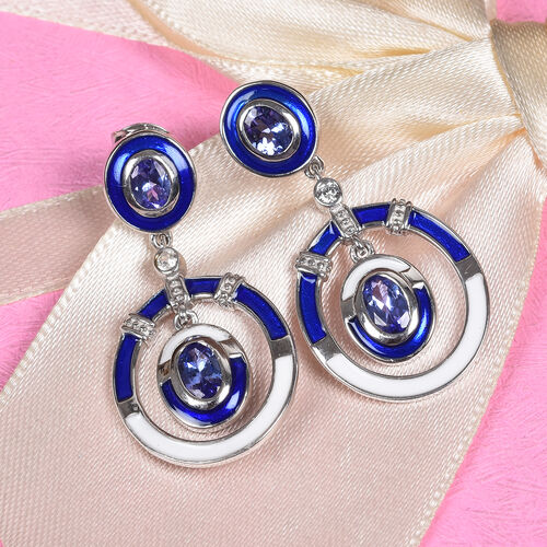 Tanzanite and Natural Cambodian Zircon Enamelled Earrings (with Push Back) in Platinum Overlay Sterling Silver 1.75 Ct.