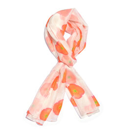 TJC Poppy Collection -100% Mulberry Silk Scarf - White (Size 180x100 Cm)