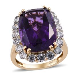 9K Yellow Gold AA Lusaka Amethyst (Cush 10.50 Ct), Natural Cambodian Zircon Ring 12.75 Ct.