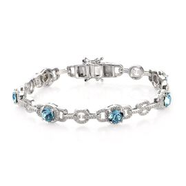 J Francis Aquamarine Colour Crystal from Swarovski Station Bracelet in Platinum Plated 7.5 Inch