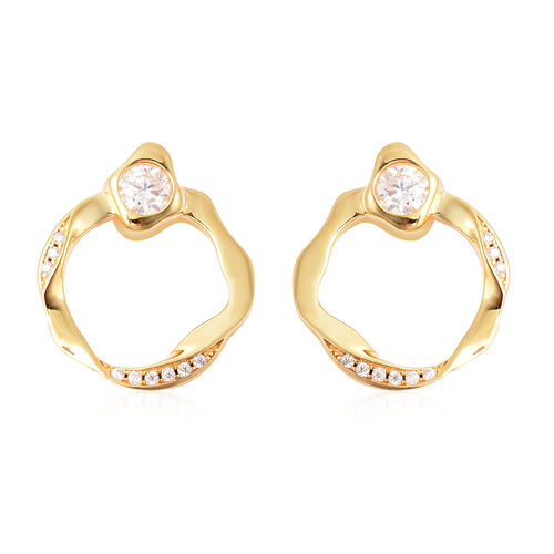 LucyQ Fluid Collection - White Moissanite Earrings (with Push Back) in Yellow Gold Overlay Sterling