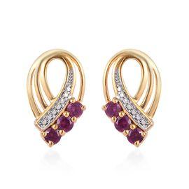 Rhodolite Garnet (Rnd) Earrings (with Push Back) in 14K Gold Overlay Sterling Silver 1.00 Ct.