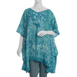 Turquoise Colour V-Neck Screen Printed Kaftan (Size 90x102 Cm)