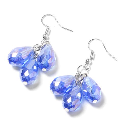 Set of 2- Simulated Tanzanite Necklace and Hook Earrings in Silver Bond.