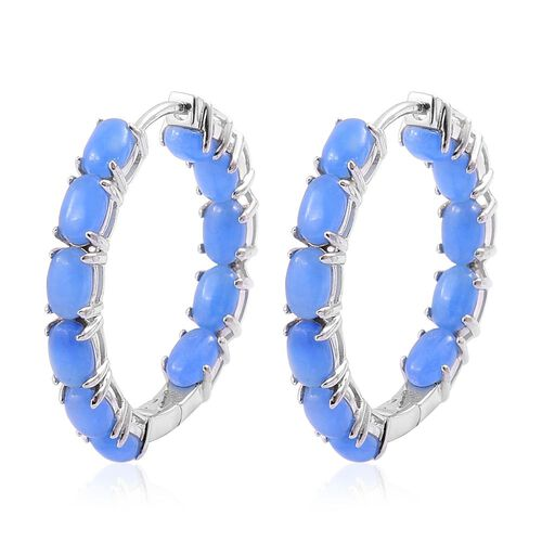 Blue Jade (Ovl) Hoop Earrings (with Clasp Lock) in Rhodium Plated Sterling Silver 14.000 Ct.